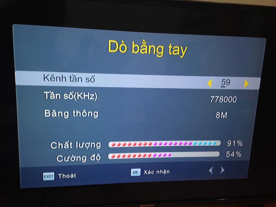 do kênh bằng tay cho đầu  thu DVB T2